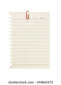 Paper note ripped off from the notebook with red clip isolated on white background.