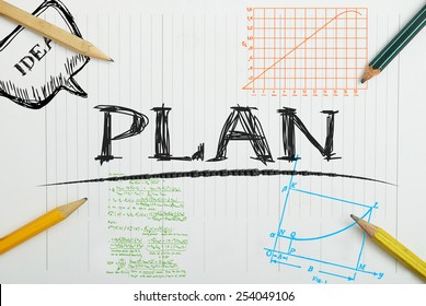 paper notebook with inscription plan , business concept