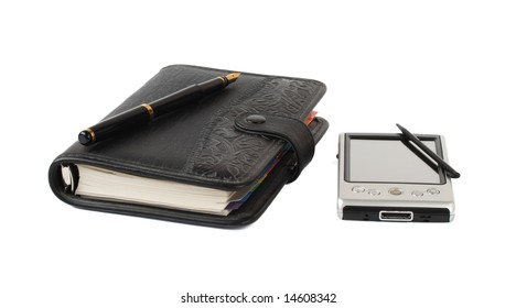 Paper organiser and pocket computer isolated on white