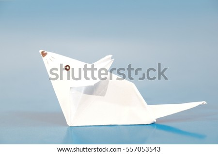 Paper Origami Mouse Isolated On Colorful Stock Photo Edit Now