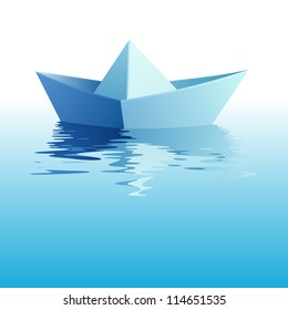 Paper origami ship on azure water. Raster version of vector image 88129738