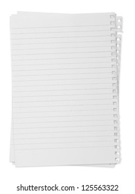 paper page notebook. textured isolated on the white backgrounds