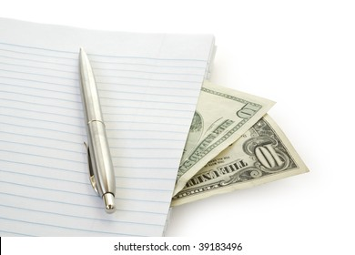 Paper, Pen and money isolated on white background