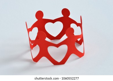 Paper people in a circle holding hands on white background - Teamwork and love concept