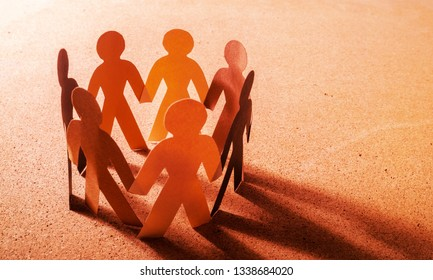 Paper People in a Circle Holding Hands