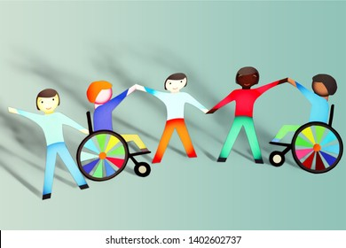 Paper People and Disabled Holding Hands