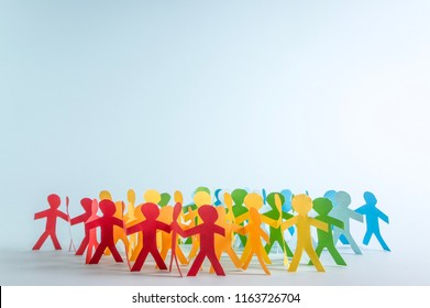 Paper people in LGBT rainbow colors. LGBT rights. Equality of rights. Human rights.