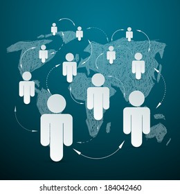 Paper People on World Map - Social Media Connection