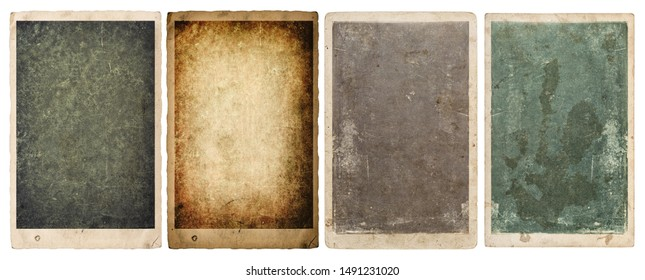Paper and photo frames with edges isolated on white background