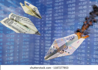 Paper plane exchange rate concept. Strong dollar and euro rates hit the rouble like one battle plane hits another. Euro, Dollar vs Ruble. US dollar and Euro grow up. World money currency devaluation