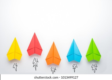 paper plane on white background, Business competition concept.