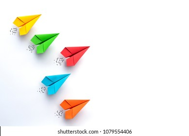 Paper plane on white background. Business competition concept. - Shutterstock ID 1079554406