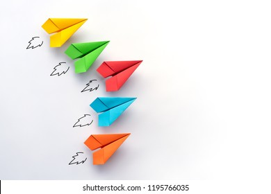 Paper plane on white background. Business competition concept.