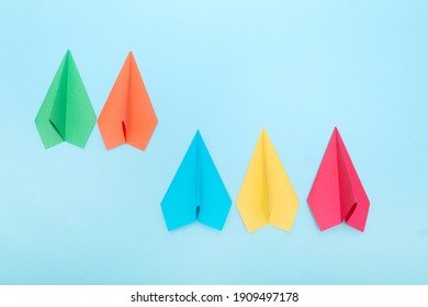 paper plane on white background, Business competition concept