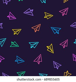 Paper plane pattern colorful line style on dark purple background. Decoration element use for web site, textile and other.