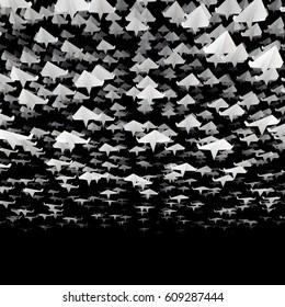Paper planes flock / 3D illustration of hundreds of paper planes flying in loose formation