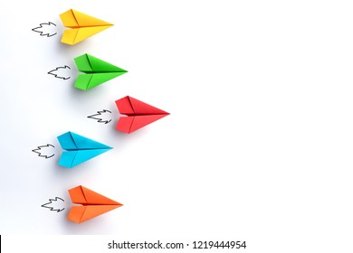 Paper planes on white background. Business competition concept.