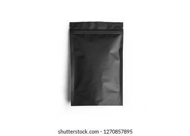 Paper Pouch Bag Mock up  isolated on white background.Black plastic vacuum sealed pouch coffee bag. With clipping Path included.Photo in high resolution