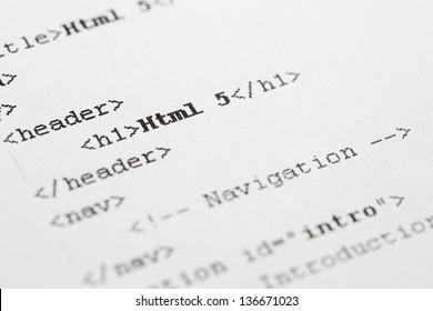 Paper Print Of Html5 Code.