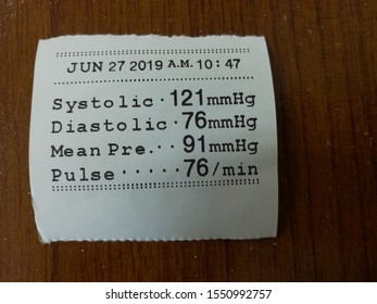 Paper printed from the results of Automatic Blood Pressure. sphygmomanometer