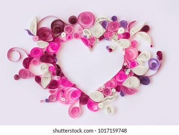 Paper quilling, decorative heart with copy space; valentines background