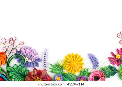 Paper quilling,colorful paper flowers.