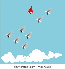 Paper red airplane as a leader among white airplane , leadership, teamwork concept.