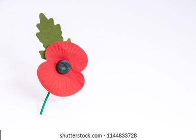 Paper red poppy used to symbolise Remembrance Sunday with copyspace