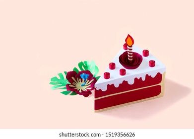 Paper red velvet cake with burning candle and berries. Volumetric handmade paper objects. Paper art and craft. Trendy hobby. Minimal art food concept. Copy space