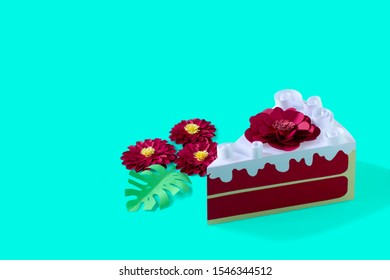 Paper red velvet cake with flower and cream. Volumetric handmade paper objects. Paper art and craft. Trendy hobby. Minimal art food concept