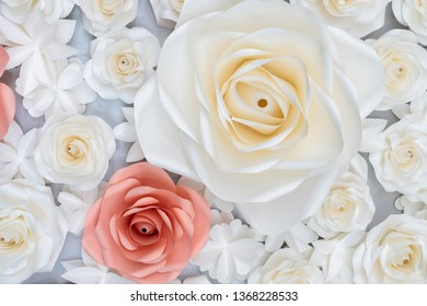 Paper rose background.Soft light on handmade paper rose for wedding wallpaper. valentine concept.