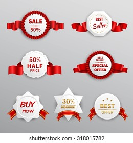 Paper sale business promotion labels set with red ribbons isolated  illustration