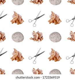 paper, scissors game white background isolated, rock-paper-scissors play repeating ornament, question & answer print, choose problem solution wallpaper, decision choice concept