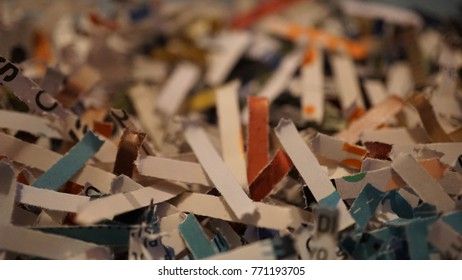 paper scraps of shredding documents