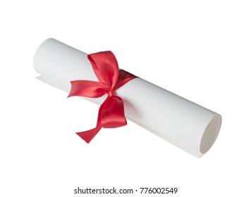 Paper scroll (diploma) tied with red ribbon isolated on a white background