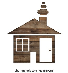 Paper shaped house on a background of brown wood,Ideas for the design concept of the business building.