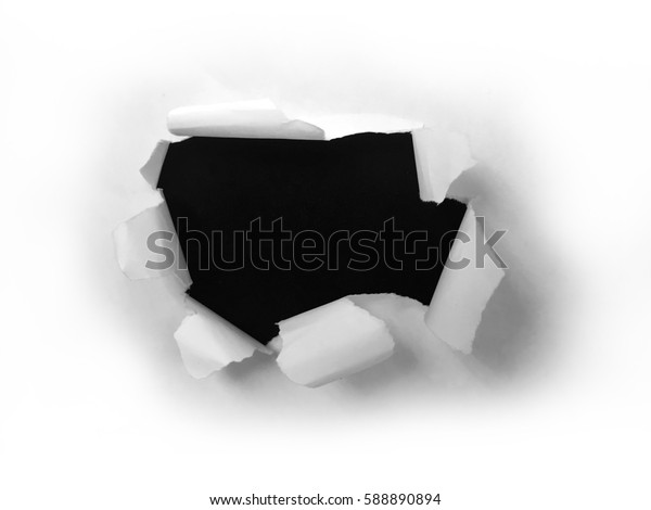 Paper sheet with black ragged crack