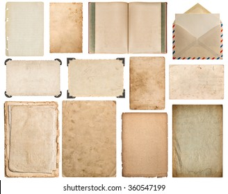 Paper sheet, book, envelope, cardboard, photo frame with corner isolated on white background. Set of scrapbook elements