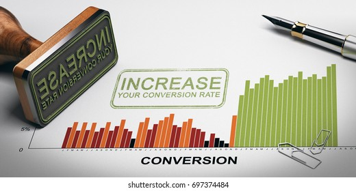 Paper sheet with conversion rates statistics, rubber stamp and slogan with the text increase your conversion rate. 3D illustration.
