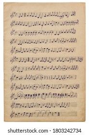 Paper sheet with handwritten musical notes. Background for scrapbook, decoupage, overlay