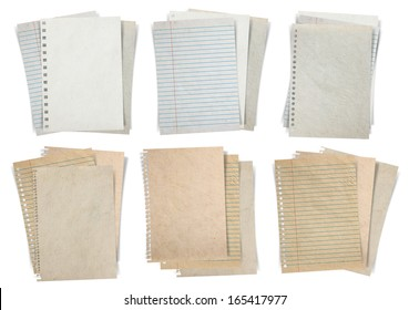 Paper sheet, (stacks of paper, lined paper and note paper) isolated on white background, Objects with clipping paths for design work