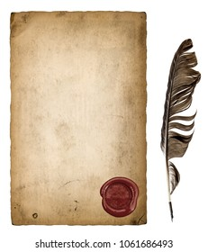 Paper sheet with wax seal and ink feather pen isolated on white background