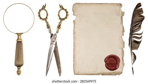 Paper sheet with wax seal, ink feather pen, magnifying glass and scissors isolated on white background. Antique scrapbook objects