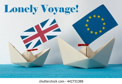 paper ship with Flags of European Union (flags of different countries eurozone) and United Kingdom, Brexit UK EU referendum concept. concept shipment or free trade agreement and membership.
