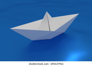 paper ship floating on a wavy sea. craft made origami boat floating in the water. 3d render, 3d illustration