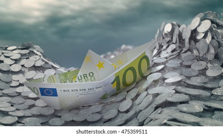 A paper ship made out of a Euro banknote heading into an iceberg - 3d illustration