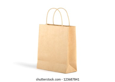 Paper shopping bag. isolated on white background