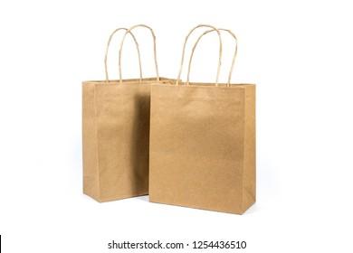 paper shopping bag isolated on white background. Blank mockup.