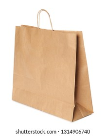Paper shopping bag isolated on white. Mock up for design