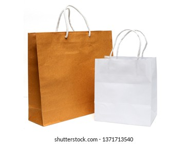 Paper shopping bags isolated on white background , recycle paper